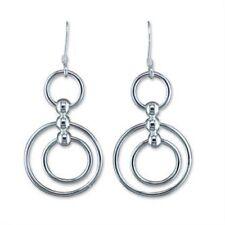 Sterling Silver Hook in Circle drop earrings