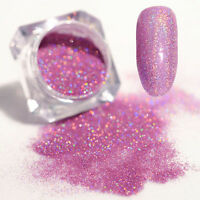 Holographic Holo Laser Powder Dust Shining Nail Art Glitter Tips Light Purple