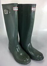 Hunter Womens 6 Green Glossw Rubber Wellies Rain Boots Tall Original 37EU 4UK