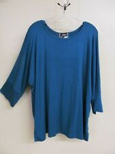 Zumi One Size fits L to 2XL; 3/4 Dolman Sleeved Rayon Top Teal Blue Color