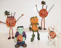 """5 Halloween Fall Figures Resin Mummy Ghost Tin Pumpkin Sitter 9"""" Decorations"""