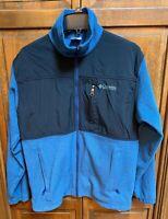 Columbia Men M Full Zip Fleece Jacket Black Blue Vietnam Made