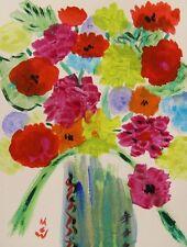 ORIGINAL Flower Naive Outsider Mary Carol Art Naif Raw Folk artist MCW art