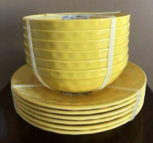 x12 RACHEL ASHWELL Melamine DINNER PLATES & BOWLS Medallion Swirl BEE Yellow NWT