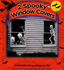Two Creepy Spooky Halloween Skeletons Window Covers 30 in. x 48 in. Silhouettes