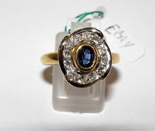 ANELLO ORO 18KT DIAMANTI BRILLANTI E ZAFFIRO RING GOLD DAIMONS Sapphire