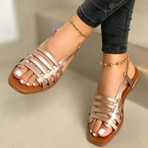 Lady's Cage Gladiator Hollow Sratps Slingback Sandals Beach Open Toe Flat Shoes