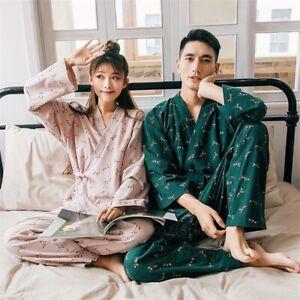 Kimono Pajamas Men Vintage Yukata Sleepwear Woman Dress Yukata  Haori Bathrobe