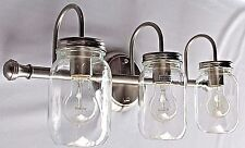 New 3 light clear mason jar lighting Brushed Nickel vanity bathroom wall