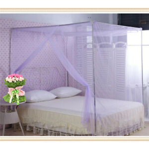 4Corner Post Bed Canopy Mosquito Bug Net Full Queen Polyester Netting Bedding DP