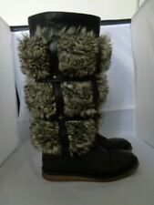 MISS SIXTY 100% LEATHER FUR YETI BLACK KNEE BOOTS SIZE 6