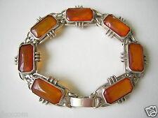 Antikes Natur Bernstein Armband Honig Rechtecke 835 Silber Genuine Amber 25,0 g