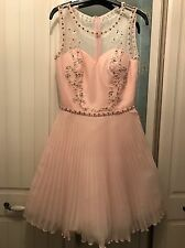 Ladies Chi Chi London Light Pink Embellished Pleat Dress Size 6 Formal Occasion