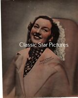 N202 Rosalind Russell original color tinted vintage fan photo from 1930's or 40s