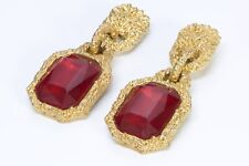 CHANEL Paris 1990 Goossens Gold Plated Red Crystal Extra Long Runway Earrings