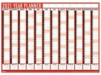 2021 Yearly Annual Calendar  Wall Planner, Red and Black, A1 Size  84X60 Tallon
