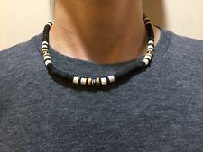 NEW Men necklace beads wood surfer choker handcraft black hippie beachwear gift
