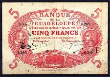 BILLET 5 Francs Guadeloupe, Boudin / Gascon. Rouge