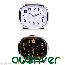 Brand New Alarm Clock Silent Sweep Snooze Night Light Bedside Bedroom Music Ring