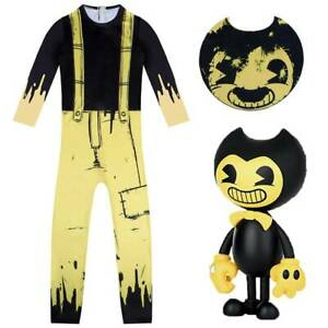 Kids Boys Bendy And The Ink Machine Costume Cosplay Fancy Dress Jumpsuit+Mask