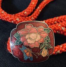 Vtg Womens Red Cloisonne Floral Buckle Braided Rope Belt Boho Festival 31-35�
