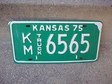 VINTAGE 1975 KANSAS KM 6565 TRUCK  LICENSE PLATE  EXCELLENT CONDITION
