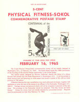 #1262 5c Physical Fitness-Sokol Stamp Poster- Unofficial Souvenir Page Flat HC