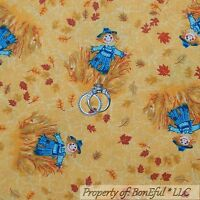 BonEful Fabric FQ Cotton Quilt VTG Gold Yellow Orange Red Leaf Scarecrow Harvest