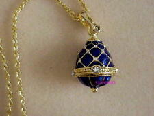 Russian Imperial Empress Alexandra Romanov Faberge Sapphire Blue Egg Necklace