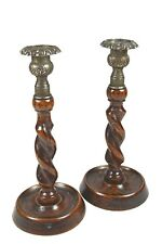 Pair of Barley Twist Candle Sticks, White Metal Bobèches, C.1880, English.