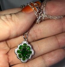 2.70 Russian Chrome Diopside Pendant And .925 Silver Chain