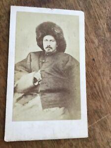 CDV  RUSSIAN (?) Man in BIG FUR HAT c 1870s CDV PHOTO 22/9