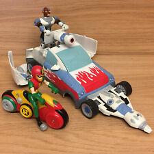 "DC Bandai Teen Titans Go Cyborg Turbo Mobile T-Car Robin & Cycle 3.5"" Figures"