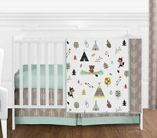 4 Piece Bumperless Baby Bedding Blue Grey Girl Boy Outdoor Adventure Crib Set