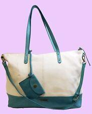 LUCKY BRAND SETAUKET Vanilla/Turquoise Leather Shoulder Tote Bag Msrp $198.00
