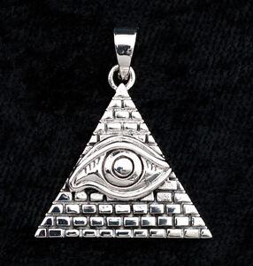 Pendentif Oeil de la Providence Illuminati en Argent  925-6.5g-W7 9982