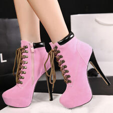 Women High Heel Platform Lace Up Ankle Boots Side Zipper Motorcycle Winter Shoes
