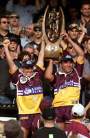 OLD LARGE PHOTO Brisbane Broncos 2000 premiership win, Walters & Tallis
