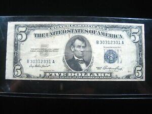 US $5.00 BLUE Seal 1953 B30312331A  # Minor error Circ SILVER CERTIFICATE Money
