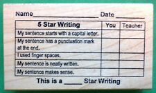 5-Star Writing Grid - Teacher's Writing Rubber Stamp, Wood Mounted