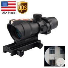 US ACOG 4X32 Fiber Source Red Illuminated Crosshair Rifle Scope Black