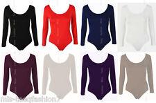 Womens Bodysuit Long Sleeve Stretch Ladies Leotard Body Top UK 8-28