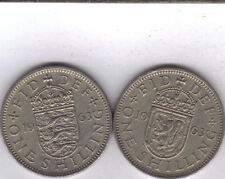 2 DIFFERENT 1 SHILLING COINS from GREAT BRITAIN - BOTH 1963 (2 TYPES)