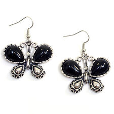 Butterfly Chandelier Earrings with Onyx Stone