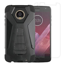 BLACK RUGGED CASE W/STAND COVER+TEMPERED GLASS FOR MOTO Z2 PLAY MOTO Z2 FORCE