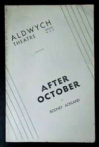 After October programme Aldwych Theatre 1936 Mary Clare Griffith Jones