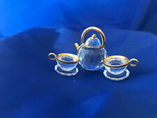 Swarovski Crystal Memories Tea Pot with 2 Cups set and Mirrored Plate