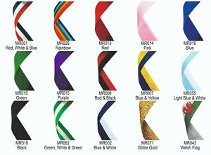 """Medal ribbons 50+ colour choices 22mm wide, 30"""" long - with metal clip fastening"""