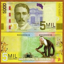 Costa Rica 5000 (5,000) 2012 (2016), P-New, New Date, New Sig. New Security UNC