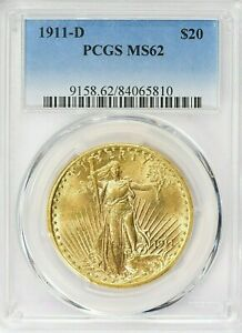RARE DATE ! ~ 1911-D SAINT GAUDENS ~ GOLD DOUBLE EAGLE ~ PCGS  MS 62 ~ $2,699.88
